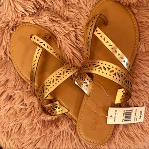 Gold slip on sandals!
